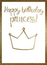 Birthday  princess girl raluca curcan made with love greeting card gold glitter z%a personalised online greeting card
