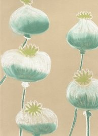 General Art painting artistic seedheads poppies poppy abstract nature personalised online greeting card