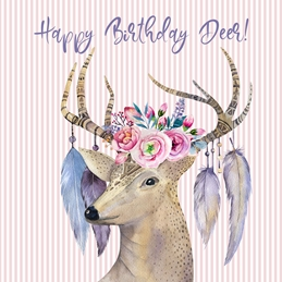 Birthday Deer, Animal, For-her, For-Him,  personalised online greeting card