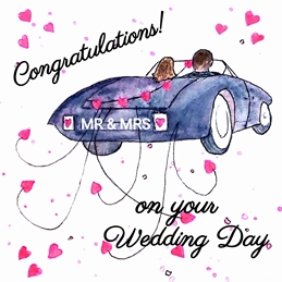 wedding wedding car people man woman fun humour blue red dad son  granddad  uncle mum daughter Nan aunt friend personalised online greeting card