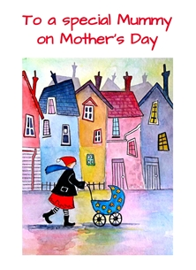 Mothers artwork mum pram houses quirky for-her  personalised online greeting card