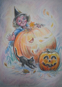 Little Liz Happy Art Halloween fun halloween witch, black cat, pumpkin, leaves, wind, wand, Autumn,  fun, for-children personalised online greeting card