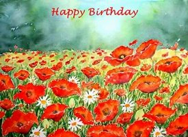 Birthday artwork flowers poppies for-her personalised online greeting card