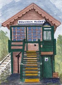 Art Grade II listed signal box Downham Market Norfolk  Railways trains Men  personalised online greeting card