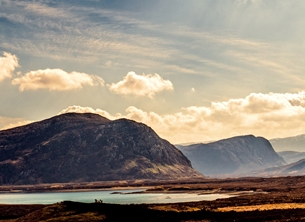 Scotland, Highlands, mountains, loch, sky, evening, warm, tranquil, serene, peaceful, for-him, for-her personalised online greeting card