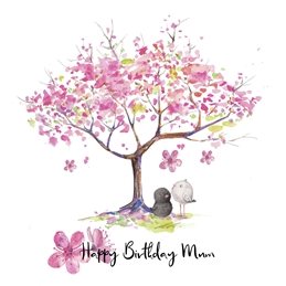 birthday Mum, Cherry Blossom personalised online greeting card