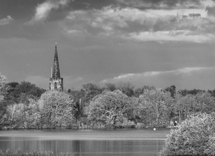 Photography Attenborough, Church, Nature, Reserve, lake, water, black and white, local, interest, photography, photographic, Nottingham, Nottinghamshire  personalised online greeting card