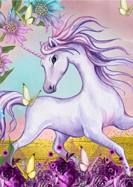 Children birthday general UNICORN GENERAL fantasy personalised online greeting card