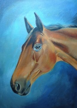 artist general Brown Horse portrait painting  art card artist birthday anniversary horses personalised online greeting card
