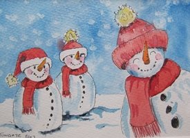 Summerhouse Studio Hello, It's Snowing! Christmas  Snowmen, snow, funny, humorous, uplifting, season, winter,  personalised online greeting card
