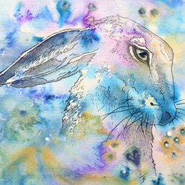 Art mystic moon gazing hare rabbit animal pet art personalised online greeting card
