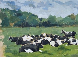 Mary Dodd Art Cows Basking Artist general Cows basking painting chewing cud  art card artist birthday anniversary cow personalised online greeting card