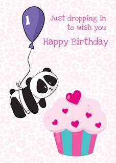 Birthday Pink panda cake cupcake cute personalised online greeting card