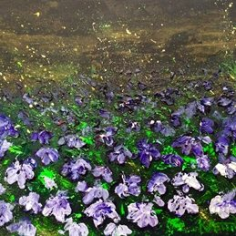 arty artistic flowers, flower,  painting, textured, impasto, lilac, lobelia, purples, contemporary  personalised online greeting card