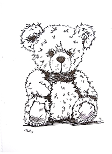 General Teddy, Bear, Bowtie, Drawing, personalised online greeting card