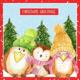 Christmas Cute, Owls, Winter, Snow,  personalised online greeting card