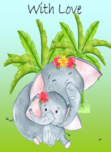 Her Nibs  Mum and Baby Elephant Mothers birthday For- Children For - Him For- Her Elephant Trees Flowers Green Blue Grey  personalised online greeting card