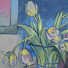Art Vintage stylised Tulips art card painting  personalised online greeting card
