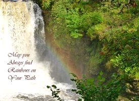 Photography FIND RAINBOWS PATH  travel rainbow waterfall  nature best outdoors green landscape river peace calm bridge for-him for-her personalised online greeting card