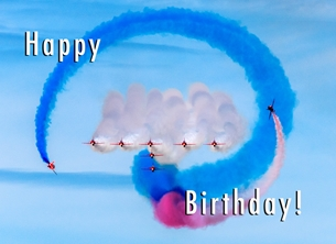 Birthday ^red arrows^, RAF, jet, aircraft, aviation, aeroplane, airplane, plane personalised online greeting card