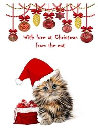 Christmas cats animals hat decorations white red  z%a personalised online greeting card