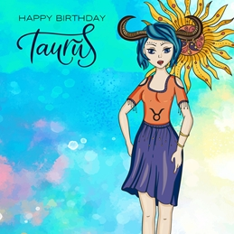 Birthday BIRTHDAY TAURUS zodiac personalised online greeting card