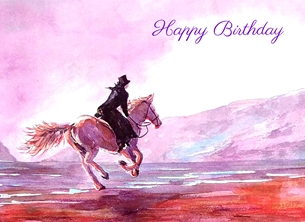 birthday artwork horse animals  beach water sky sand for-her personalised online greeting card