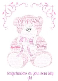 Baby pink girl, teddy bear  z%a personalised online greeting card