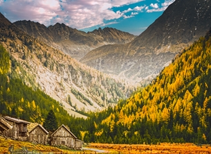 Photography Mountain, alps, walking, nature, landscape, homestead, hut, countryside, general, photographic personalised online greeting card