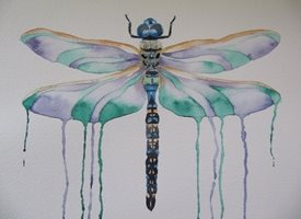 art Dragonfly, insects, bugs, wildlife, countryside, blue, personalised online greeting card