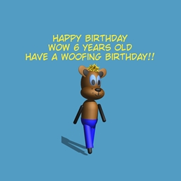 Birthday ^dog^,^happy^,^six^,^blue^ personalised online greeting card
