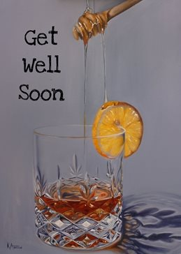 Kay Ashton Fine Art Hot Toddy artistic hot toddy, honey, whiskey, whisky, brandy, cold remedy, cold, flu, get well soon, speedy recovery, oil painting, crystal glass, realism personalised online greeting card