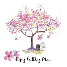 Birthday Cherry Blossom, Pink, Birds personalised online greeting card