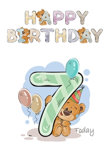 Her Nibs  Teddy 7 Birthday children For Children Water Colour Teddy Age 7 personalised online greeting card