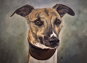 art whippet dog animal art oil painting personalised online greeting card