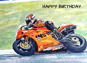 Birthday artwork motorbike motorcyclist  bikes racing for-him personalised online greeting card