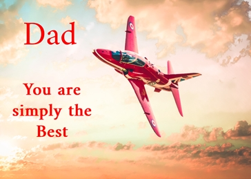 Fathers birthday Father's Day, father's, dad, granddad, simply, -him, aeroplane, plane, jet, red arrow, red personalised online greeting card