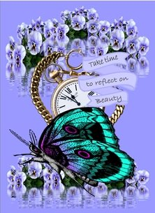 General Butterfly Flowers Vintage Pocket Watch Pansies Purple Blue Gold Inspirational  personalised online greeting card