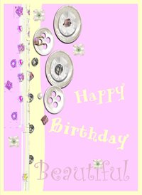 Birthday pink beautiful buttons gems z%a personalised online greeting card