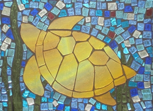 General Turtle, mosaic arts, stained glass, wildlife, sealife, water, pond life, sea, ocean, Birthday, for her, him, Mothers, Mums, friends, girls, boys, aquarium, fishes, children personalised online greeting card