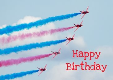 Birthday Birthday, him, son, dad, Red arrows, children, airplane, jet for-him  for-child personalised online greeting card