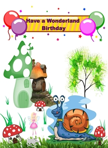 Birthday For-Children Colourful Snail Cartoon Mushroom Balloons Banner Fairy Green Brown White Red Yellow Happy  personalised online greeting card