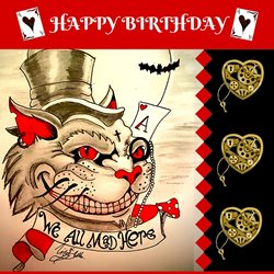 Lizzy'sCardsLTD Alice Madness Birthday Card Birthday Alice Madness alice in wonderland cheshire cat z%a personalised online greeting card