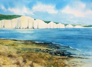 Art The Seven Sisters, South downs, Sussex. marine, coastal, seascape, sea personalised online greeting card