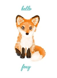 General fox, foxy, woodland creatures, hello, flirty, orange, teal, crush, valentine, love, cute, sweet, animals, every day, adorable, romance personalised online greeting card