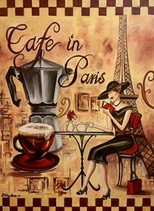 Art By Three  Cafe Paris personalised online greeting card