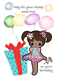 Birthday children For Children Girl Gift Doll Balloons Brown Blue Purple Yellow  Red  personalised online greeting card