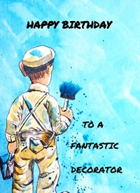 Birthday painter decorator paint paintbrush blue humorous funny dad son  granddad  uncle mum daughter Nan aunt friend for-him personalised online greeting card