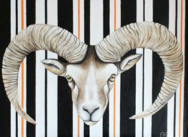 art Goat horns stripes z%a personalised online greeting card