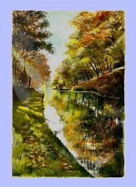 Art canal trees water scene personalised online greeting card